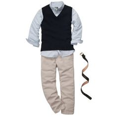 Sweater vest, oxford shirt, twill pants and simple styling belt. $60 (4 Pieces)  UCLICK SHIPPING: (2kg) fr $18