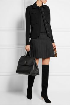 Gucci - Black leather Bamboo bag.