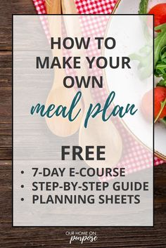 Free email course to help you get started meal planning - right away and in the way that works best for you! Beginners welcome! Free printables and step-by-step guide. 7 Course Meal, Easy Recipes For Beginners, New Year Goals, Meal Planning Printable, Free Meal Plans, Create A Recipe, Stress Less, Meal Planner, Meals For Two