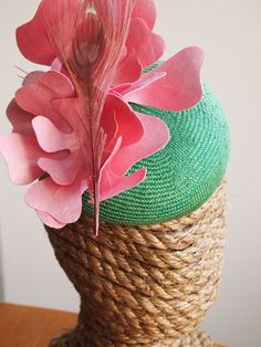 Kentuck Derby Hat Pink and Green Fascinator by CommunionMillinery