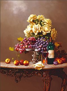 ART~ Peaches And Grapes And A Bottle Of Wine. Let's All Have Sip. . .Finish The Painting Another Time!~ Artist Rino Gonzalez