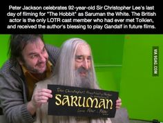 92 year old Christopher Lee filming his last scene as Saruman in London