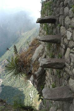 World's most dangerous hiking trails: Treacherous stone steps along the Huayna Picchu trail.
