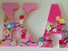 Custom Painted Girl's Wall Letters Cherry por SophiasRosieRoom