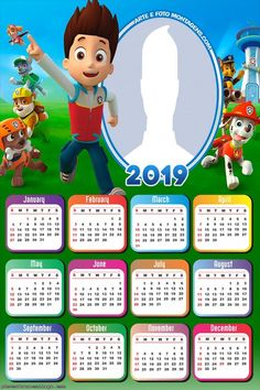 Paw Patrol Calendar 2019 Frame Photo Montage Free Online Diy Calendar, Calendar 2018, Calendar Design, Photomontage, Imprimibles Paw Patrol, Photo Frames For Kids, Los Paw Patrol, Photo Frame Design, Montage Photo