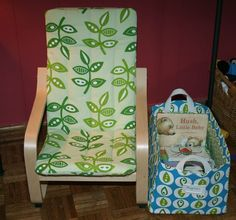 The children's version of the Poang Chair from IKEA is popular piece, but the natural cotton cover is a bit ho-hum. If you've got some sewing skills, why not re-cover that bland cushion with some fun fabric?