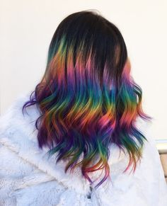HALO PRISM TECHNIQUE ❤️💛💚💙💜🖤 here is my halo prism debut 😍 inspired by the work of i am super happy/ shocked! with how good it came out and will definitely be doing more of these soon! do you love this crazy look? Vibrant Hair Colors, Fall Hair Colors, Hair Color Dark, Cool Hair Color, Brown Hair With Highlights, Rainbow Highlights, Corte Y Color, Coloured Hair, Crazy Hair