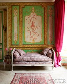 A pop of color from the curtains and a beautiful wall make a great room via @Elle Decor #home #design #decor