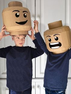 How to make a cardboard brickhead helmet from a downloadable template. Dress up as your favourite brick or legoman characters with this fun DIY.