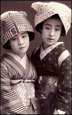 """Two """"Country Geisha"""" With Eyes for You. By Okinawa S    Gelatin silver print from old Japan, ca.1910 to 1920."""