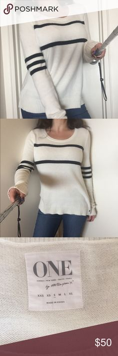 Authentic One Teaspoon white cashmere sweater S Authentic One Teaspoon white/cream 100% cashmere sweater with black stripes. Size S. Super soft and cosy. In excellent pre-loved condition. From a smoke and pet free home. One Teaspoon Sweaters Crew & Scoop Necks