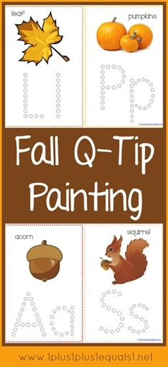 Fall Q-Tip Painting Printables {free} from Preschool alphabet activity. Use with younger children while older children homeschool. Fall Preschool, Preschool Lessons, Preschool Kindergarten, Preschool Learning, Preschool Activities, Preschool Painting, Early Learning, Motor Activities, Preschool Planner