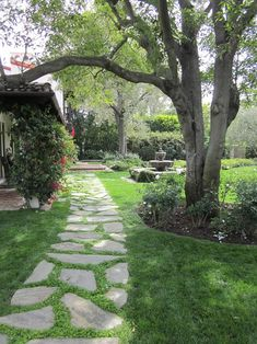 10 Beautiful Backyard Walkway Ideas What an easy way to create a path to your front door, even when you have a grassy front lawn! This stone grass path is both beautiful and practical! Backyard Walkway, Front Yard Landscaping, Walkway Ideas, Patio Stone, Flagstone Patio, Concrete Patio, Patio Table, Backyard Patio, Landscaping Ideas