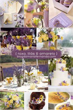 Decoração de Casamento : Paleta de Cores Roxo Lilás e Amarelo