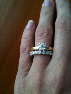 solitaire with diamond u-prong band