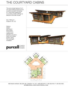 Purcell Timber Frames - Cabin Design and Floorplans - The Courtyard Cabins