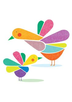 Birds and Colors Print - 8x10 or A4.  via Etsy.
