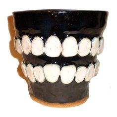 Black Tooth Flower Pot by Aaron Nosheny / Aberrant Ceramics on Etsy, $45.00