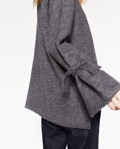 SWEATER WITH TIE DETAIL ON SLEEVE-KNITWEAR-WOMAN | ZARA United States