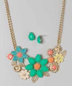 Look at this #zulilyfind! Mint & Orange Teardrop Flower Bib Necklace & Earring Set #zulilyfinds