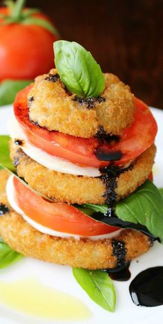 Onion Ring Caprese Salad Stacks