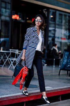 5 Easy Tricks For Putting Your Outfit Together oxfords with striped coat and bandana scarf