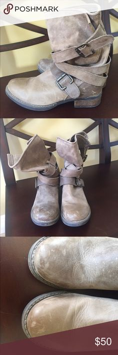 Steve Madden taupe slouchy boots! I purchased these over five years ago, and I've been moving around a lot so all of the scratches (pictured) are just from moving them around. I've only ever worn them maybe once out. Super cute boots for the fall that are a little slouchy and worn in looking! size 9 accepting offers! Steve Madden Shoes