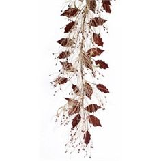 2 Artificial Beige & Chocolate Brown Pine and Holly Christmas Sprays 4' - Unlit