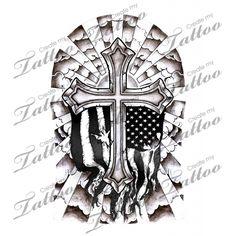 Cross half sleeve   Cross Half Sleeve - Shaded with Flag #110978   CreateMyTattoo.com