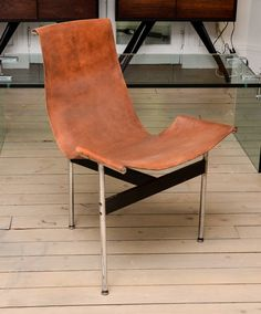 """Katavolos Leather Sling """"T"""" Chair   From a unique collection of antique and modern chairs at https://www.1stdibs.com/furniture/seating/chairs/"""