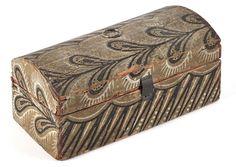 Sold $ 325 Pennsylvania wallpaper covered dome lid dresser box, ca. 1830, 3 3/4'' h., 8'' w. ...~♥~