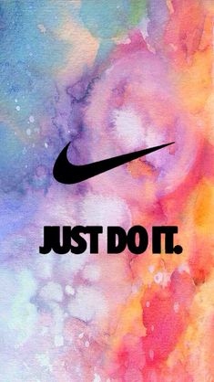 Art Creative Nike Quotes Just Do It Logo Brand Sport Space Multicolor HD iPhone Wallpaper. Girly Wallpaper, Watercolor Wallpaper Iphone, Iphone Wallpaper Just Do It, Wallpaper Quotes, Nike Wallpaper Iphone, Ocean Wallpaper, Mac Wallpaper, Laptop Wallpaper, White Wallpaper