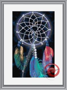 Rainbow Feathers Dream Catcher Counted Cross Stitch Pattern, Instant Download PDF, Relaxing Hobby