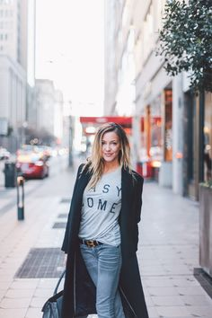Katie Cassidy Style // Zoe Karssen Easy Come Easy Go T Shirt // J Brand Coat