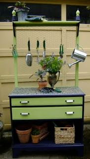 Recycle an old dresser: Turn it into a planting potting bench / table for the garden or shed. Room for the soil in a bucket or drawer. Just have to be a little taller than this so I can work standing up without hurting my back