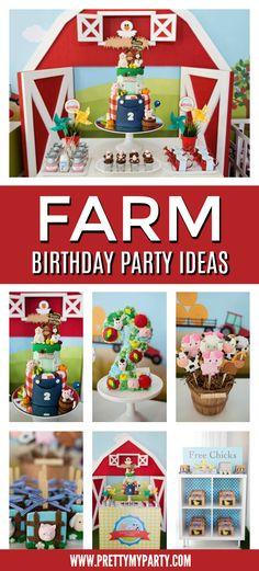 Farm Animal Themed Birthday Party - Pretty My Party - Party Ideas Animal Themed Birthday Party, Farm Themed Party, Farm Animal Party, Farm Animal Birthday, Birthday Themes For Boys, Farm Party, 1st Boy Birthday, 2nd Birthday Parties, Birthday Banners
