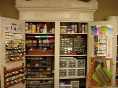 Craftroom cupboard orgainzation - An old armoire - good hidden storage