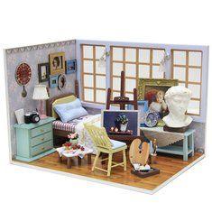 Cuteroom Diy Puppenhaus Miniatur aus Holz Handgemachte Modellbau Verkleiden Geburtstags Geschenk Schöne Zeit