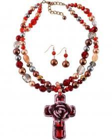 Silver Stirke Rose on Cross Beaded Necklace & Earrings Set
