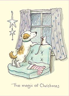 Puppy and little mouse looking out of the window on a Christmas night watching for Santa Claus!