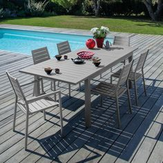 TABLE FIERO 180/240X103cm en aluminium coloris cérusé brun ...