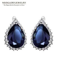2 Colors Zircon Rhinestone Hoop Earrings for Women Wedding Classic Jewelry Waterdrop  New Hot,Do you want itVisit us