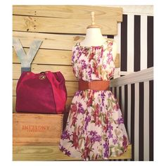 Spring has sprung here at Teddy! This new floral dress ($88) looks especially great when paired with a bright fuchsia bag (sale - $80). Toss in a flat clasp belt (sale - $29) and you have a brand new outfit under $200