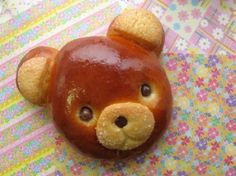 Cute teddy bread...is that sugar sprinkled cookies on the ears and mouth?