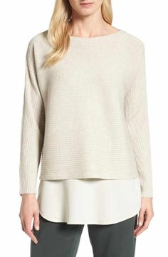 1df7ad1428 Eileen Fisher Boxy Ribbed Wool Sweater