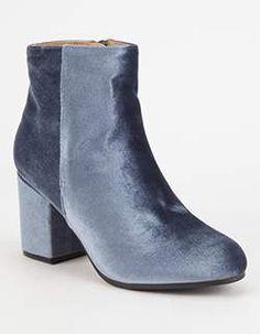 QUPID Velvet Womens Mod Boots    Blue