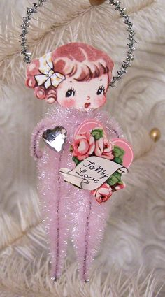 Vintage Style pink chenille Valentine girl ornament