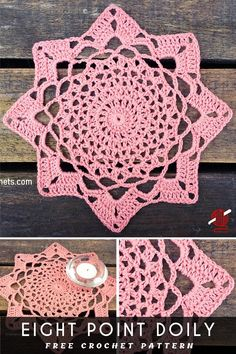 Lovely Lacy Doilies Eight Point Crochet Doily [FREE] pattern. This such a great idea with a written free pattern, with a flower motif. Thread Crochet, Crochet Yarn, Easy Crochet, Crochet Hooks, Free Crochet Doily Patterns, Crochet Motif, Free Pattern, Mandala Crochet, Crochet Coaster