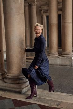 Emma Willis's Next Collection Is The Streamlined Answer For Your Wardrobe This Season Fashion 2020, Fashion Show, Fashion Trends, Navy Pleated Skirt, Emma Willis, Carolyn Bessette Kennedy, Capsule Wardrobe Work, Herringbone Jacket, It Goes On