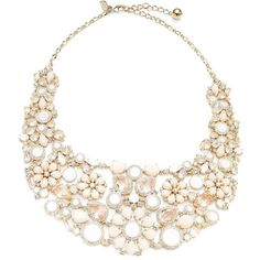 Kate Spade New York At First Blush Floral Bib Necklace ($398) ❤ liked on Polyvore featuring jewelry, necklaces, white, bib jewelry, white necklace, plastic necklace, white jewelry and floral jewelry
